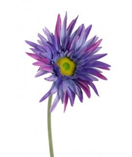 Flor artificial gerberas de color lila con pétalos de tela y tallo largo decoración adorno hogar