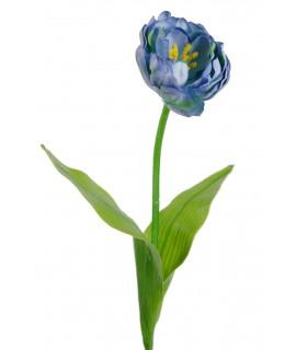 Flor tulipán artificial de color azul pétalos de tela decoración adorno hogar