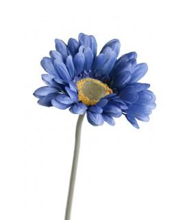 Flor artificial gerberas de color azul con pétalos grandes de tela y tallo largo decoración adorno hogar