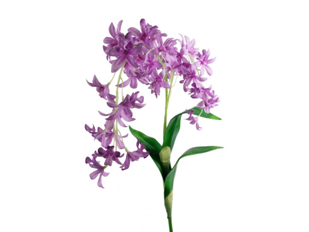Flor orquídea artificial color lila con pétalos de tela decoración adorno hogar