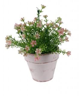Maceta de cerámica con flores. Medidas: 23x15 cm.