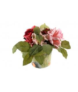 Maceta con Rosas de tela. Medidas: 20x15 cm.