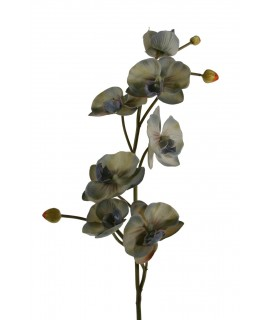Flor orquídea artificial color gris con pétalos de tela decoración adorno hogar. Medidas: 70x10x10 cm.