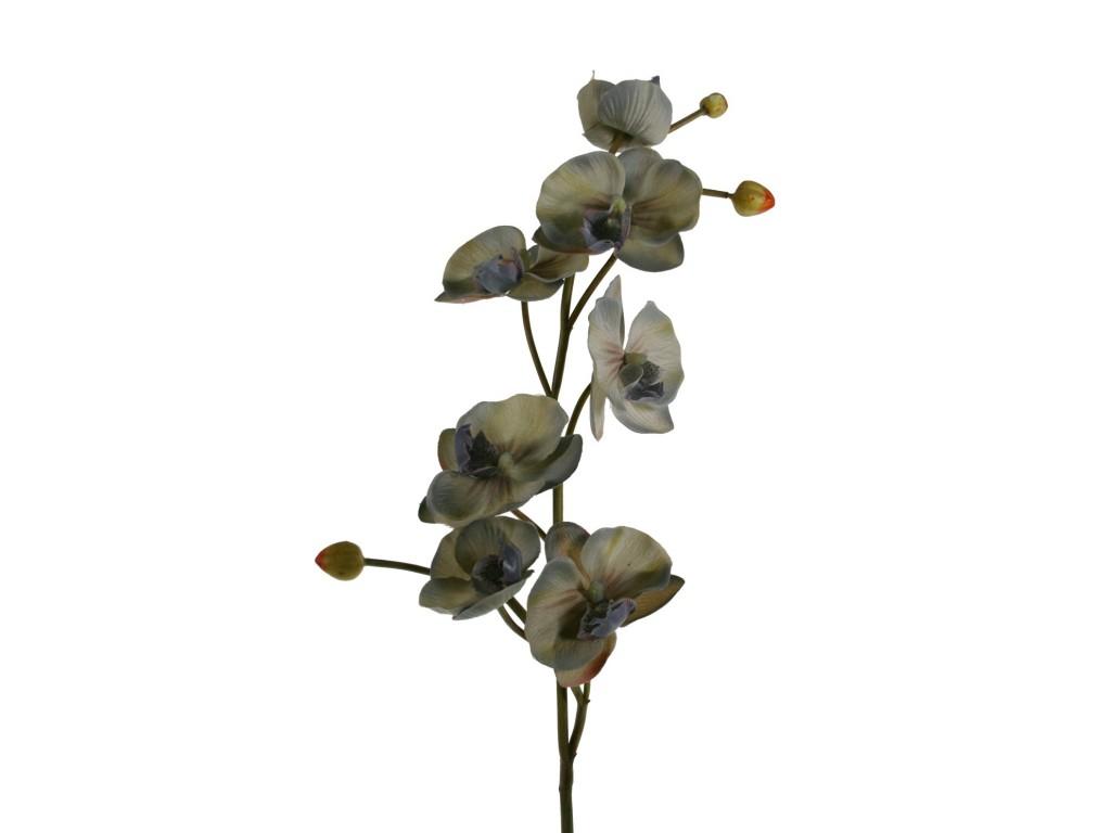 Flor orquídea artificial color gris con pétalos de tela decoración adorno hogar.