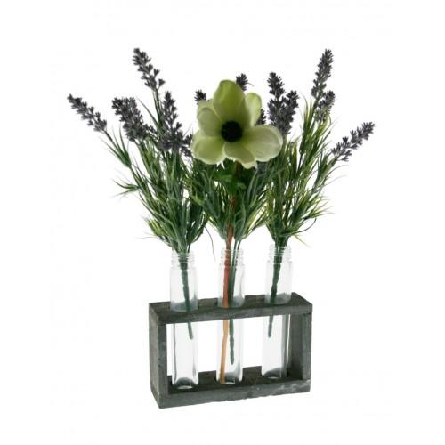 Vase avec base en bois et trois vases en verre intégrés.