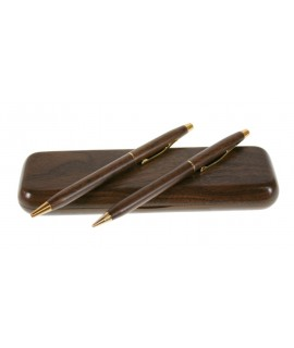 Bolígrafo y Portaminas en caja de madera