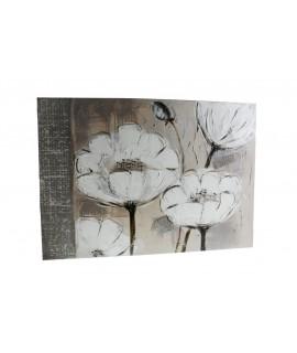 Quadre amb flors pintat en tela a l'oli en tonalitats grises.