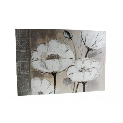 Cuadro con flores pintado en tela al óleo en tonalidades grises