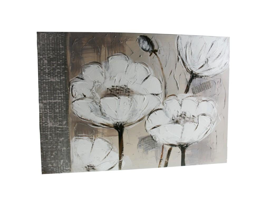 Cuadro al óleo con relieves de flores decoración hogar