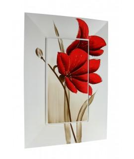 Cuadro al óleo pintado en base de madera con flor color roja.