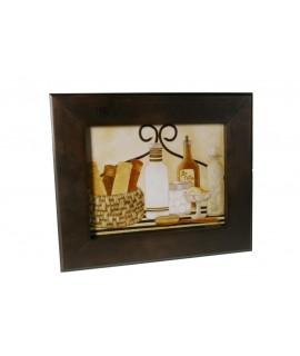 Quadre emmarcat en fusta amb disseny bany.