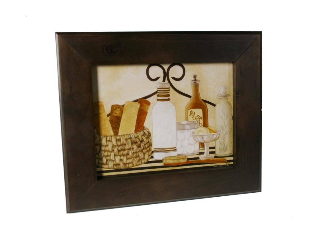 Tableau Salle De Bain tableau encadré en bois avec design de salle de bain.