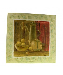Peinture nature morte peinte sur toile à huile verte