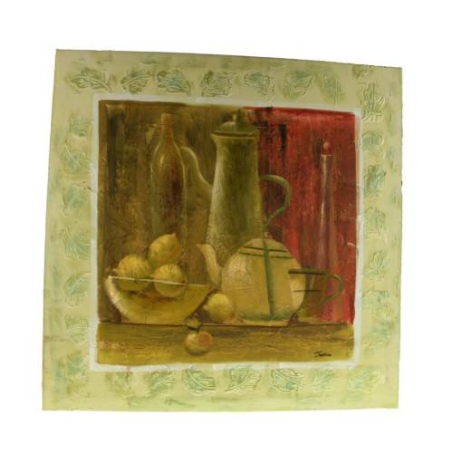 Cuadro bodegón pintado sobre tela al óleo color verde