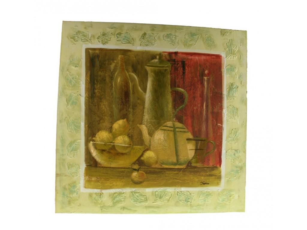 Cuadro Bodegón Pintado Sobre Tela Al óleo Decoración Hogar