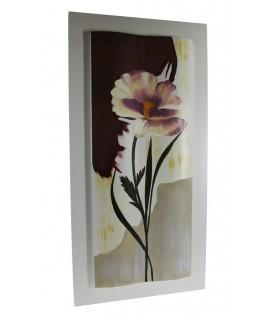 Cuadro pintura óleo flores en madera. Medidas: 100x50 cm.