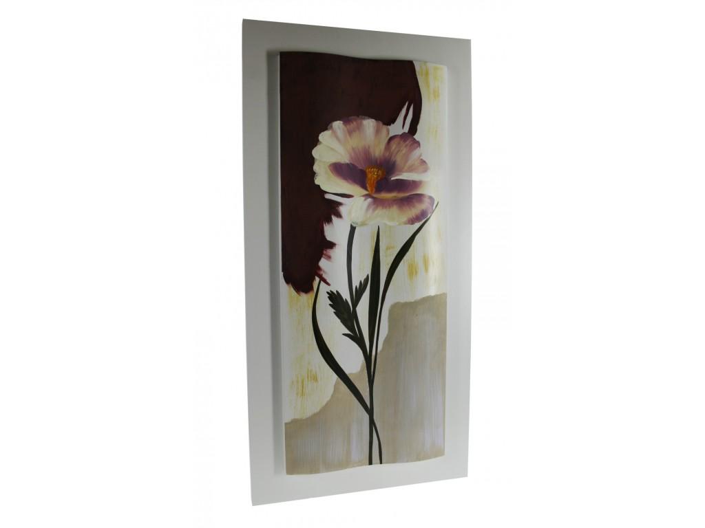 Cuadro pintura óleo flores en madera