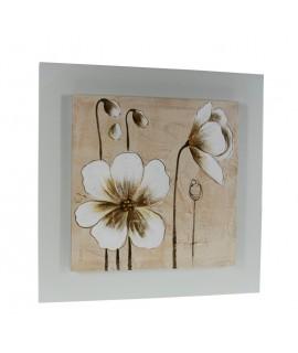 Tableau en bois avec des fleurs de peinture à l'huile