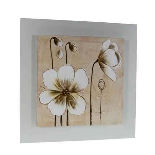 Cuadro de madera con pintura al óleo flores