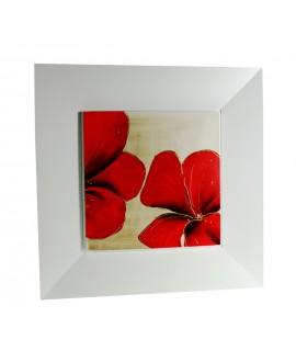 Cuadro al óleo pintado en base de madera con flor color roja