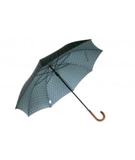 Paraguas grande de lluvia para señor color negro con estampado gris apertura automática. Medidas: 92 cm.