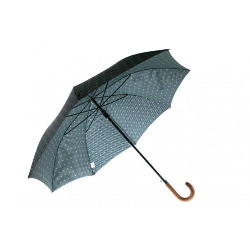 Paraguas con apertura automática de color negro y estampado discreto gris para señor paraguas grande con varillas de fibra regal