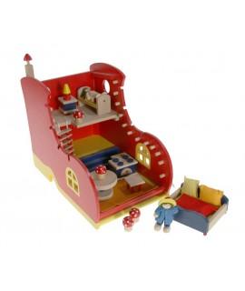 Casa de nines de fusta forma de sabata joc de nens i nenes