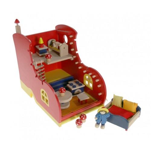 Casa de muñecas de madera forma de zapato juego de niños y niñas