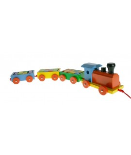 Tren de madera maciza colorida con cubos de apilar. Medidas: 11x63x9 cm.