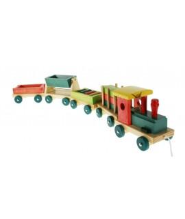 Train en bois Emil avec des wagons et des pièces mobiles
