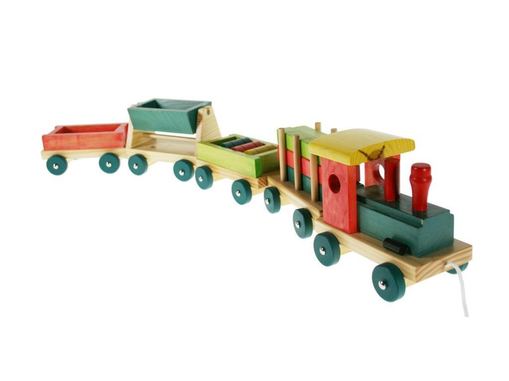 Tren de madera emil con vagones y piezas móviles