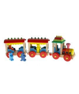 Train en bois massif multicolore avec des passagers jouets traditionnels