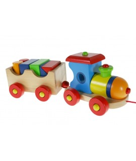 Tren de madera con vagón y piezas para arrastrar juego tradicional