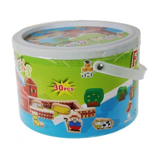 Cubo de Construcción granja en madera colorida juguete de creatividad