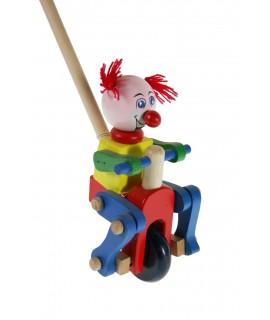 Juguete arrastre empuje madera payaso juego de palo para niños niñas