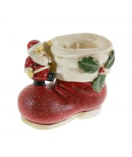Bougie de Noël en forme de chaussure de père Noël
