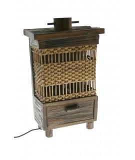 Llum sobretaula fusta i vímet decoració llar rustico per a regal