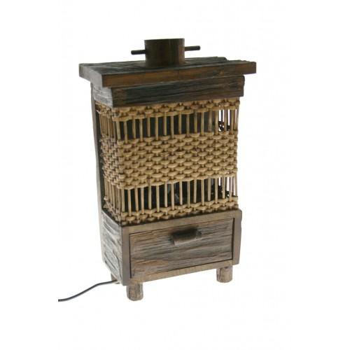 Lámpara sobremesa madera y mimbre decoración hogar rustico para regalo