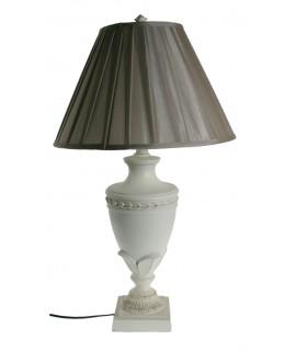 Llum sobretaula base fusta color blanc estil vintage decoració