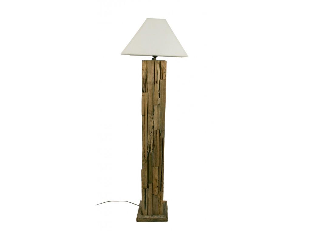 L mpara realizada de madera natural reciclado con pantalla - Lamparas de mesa recicladas ...