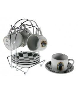 Juego de cuatro tazas y plato con soporte americano estilo retro vintage menaje de cocina y mesa ideal para regalo
