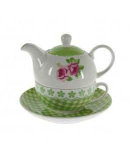 Juego de te individuales para uno de cerámica color verde con flor estilo vintage romántico