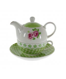 Te para uno de cerámica color verde con flor