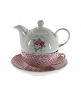 Juego de te individuales para uno de cerámica color rosa con flor estilo vintage romántico
