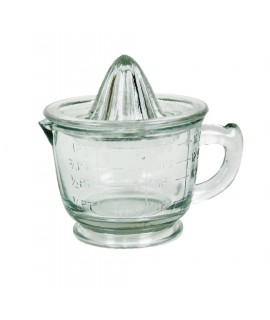 Exprimidor de cítricos manual graduado de vidrio con asa de transporte utensilio de cocina. Medidas: 12x16 cm.