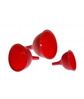 Juego de tres embudos de silicona para utensilio de cocina de color rojo. Medidas: 12x10x10 cm.