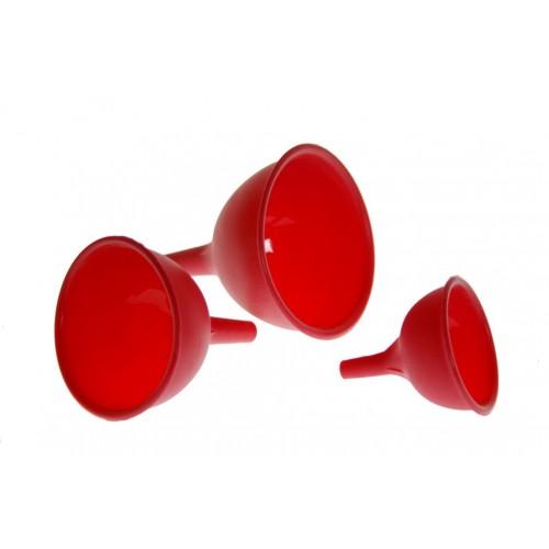 Juego de tres embudos de diferentes tamaños de silicona, de color rojo para cocina casera menaje utensilio de cocina