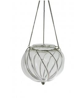 Porta velas para colgar de vidrio soplado y soporte de metal