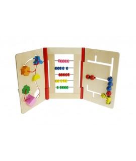 Libro infantil de madera busca caminos de motricidad para bebé. Medidas: 25x52x5 cm.