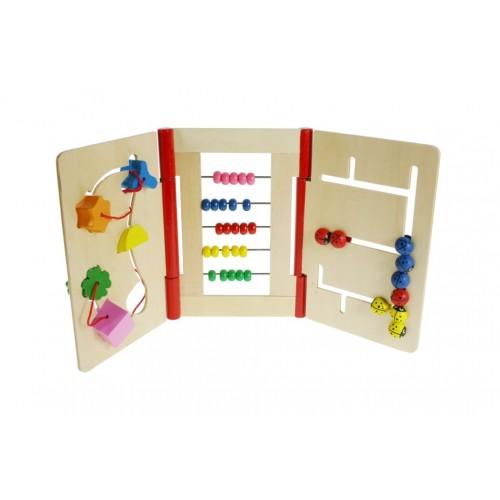 Libro de madera múltiple para infante para educar la motricidad.